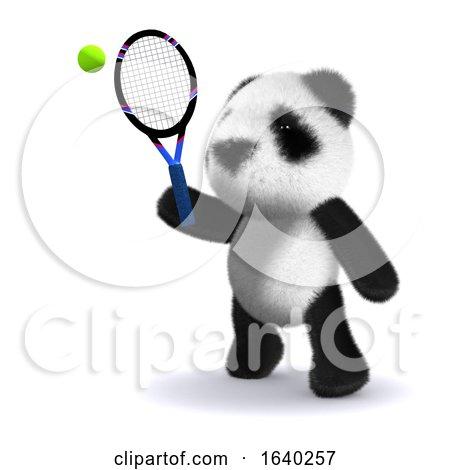 3d Tennis Panda by Steve Young