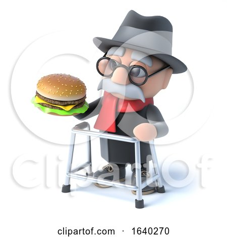 3d Old Man Eats a Burger by Steve Young