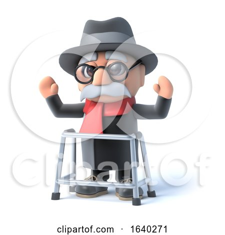 3d Grandpa with Walking Frame Waves His Arms in the Air by Steve Young