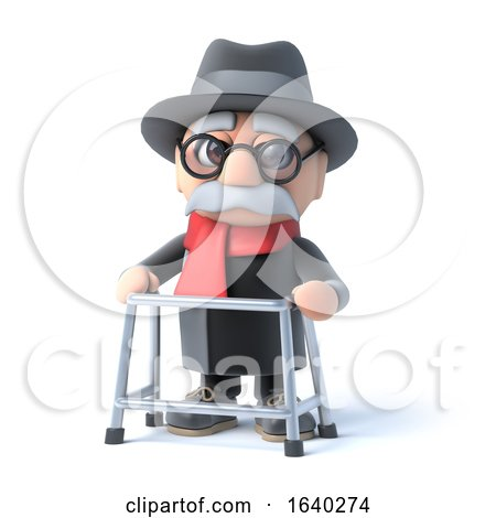 3d Grandpa with His Walking Frame by Steve Young