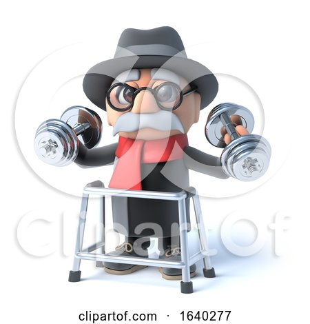 3d Grandpa with Walking Frame Is Lifting Weights! by Steve Young