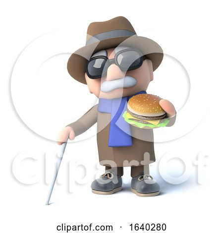3d Blind Man Eats a Burger by Steve Young