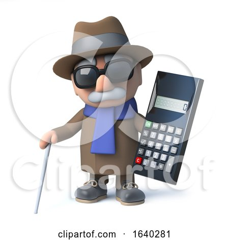 3d Cartoon Old Blind Man Character Holding a Calculator by Steve Young