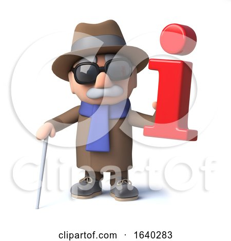 3d Cartoon Blind Man Character Holding an Information Symbol by Steve Young