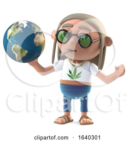 3d Hippy Stoner Studies a Globe of the Earth by Steve Young