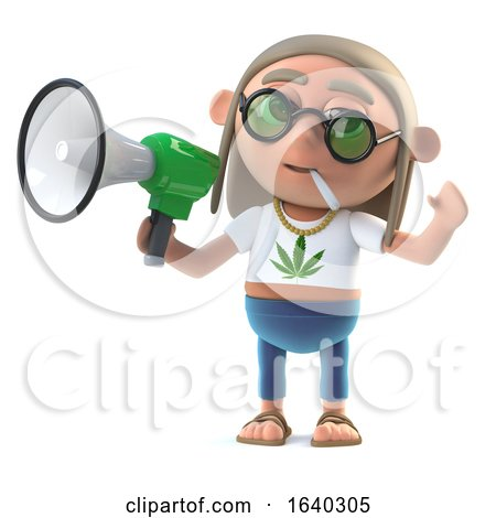 3d Hippie Stoner Makes an Announcement with a Loud Hailer by Steve Young