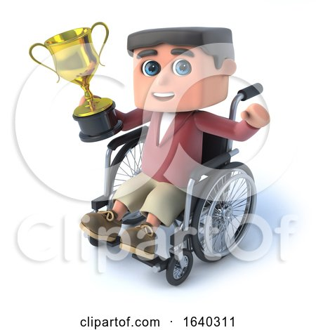 3d Boy in Wheelchaird Has Won a Gold Cup by Steve Young