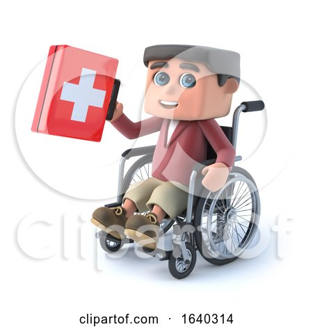 3d Boy in a Wheelchair Holding a First Aid Kit by Steve Young
