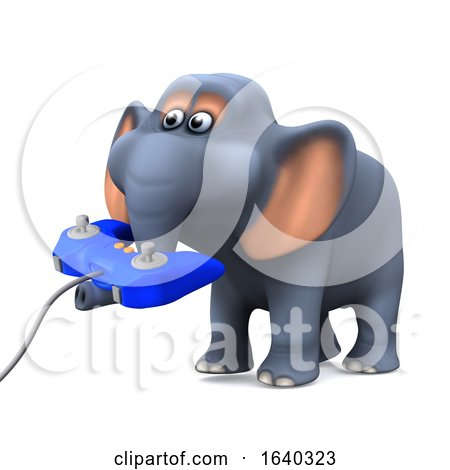 3d Elephant Plays a Video Game by Steve Young