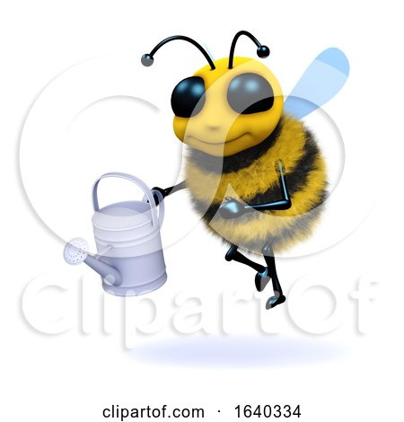 Funny Cartoon 3d Honey Bee Character Holding a Watering Can by Steve Young