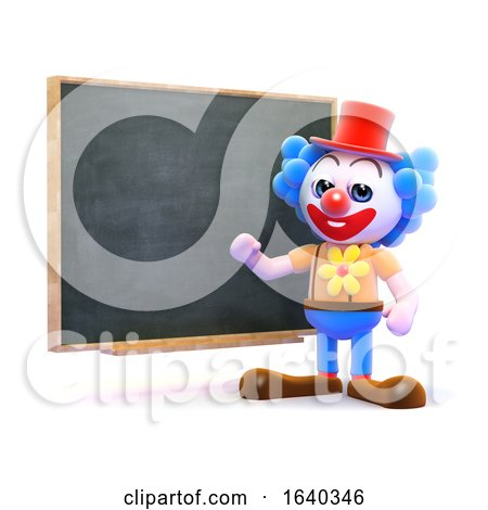 3d Clown Teaches at the Blackboard by Steve Young