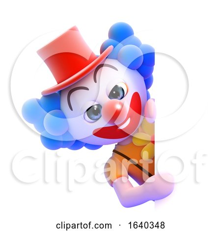 3d Clown Behind a Blank Page by Steve Young
