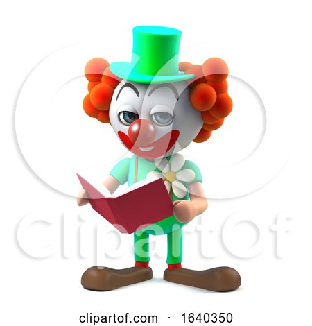 3d Funny Cartoon Clown Character Reading a Book by Steve Young