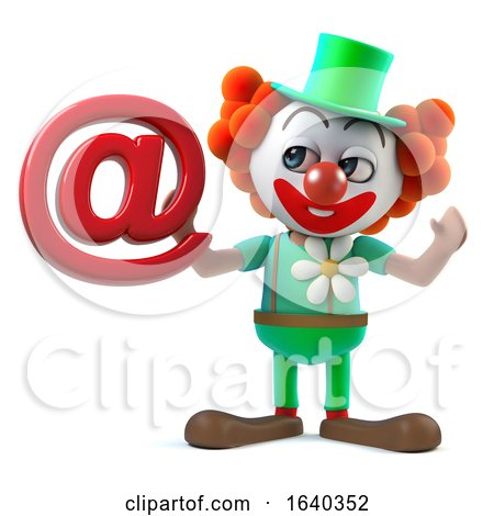 3d Funny Cartoon Crazy Clown Character Has an Email Address Symbol by Steve Young