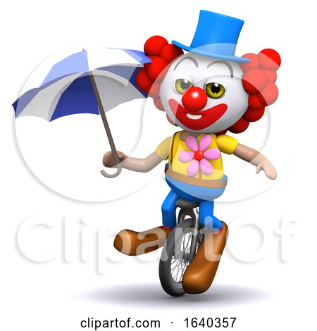 3d Clown Unicycles Under Umbrellaq by Steve Young
