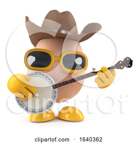3d Cowboy Egg Playing a Banjo by Steve Young