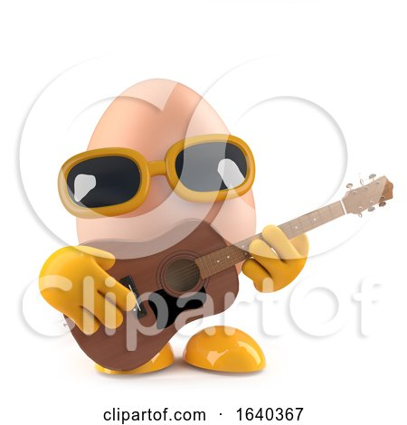3d Egg Playing an Acoustic Guitar by Steve Young