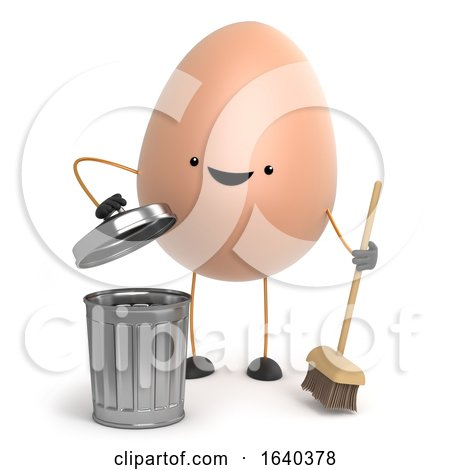 3d Cute Toy Egg Is Cleaning up with a Broom by Steve Young