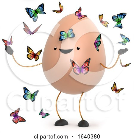3d Cute Toy Egg Surrounded by Beautiful Butterflies Posters, Art Prints