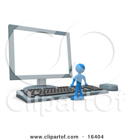 Tiny Blue Person Standing In Front Of A Computer Keyboard And Looking Up At A Flat Screen Lcd Monitor Screen  Posters, Art Prints