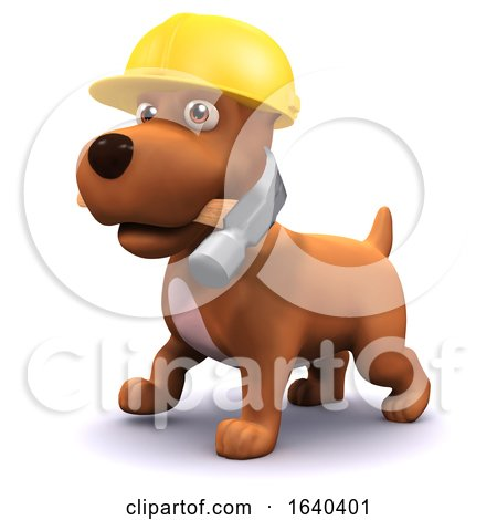3d Puppy Dog Construction Worker by Steve Young