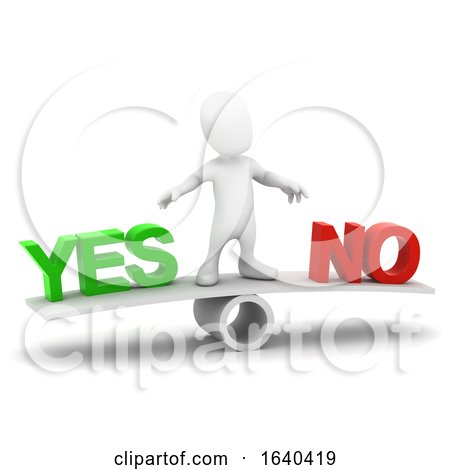 3d Little Man Decides Yes or No by Steve Young