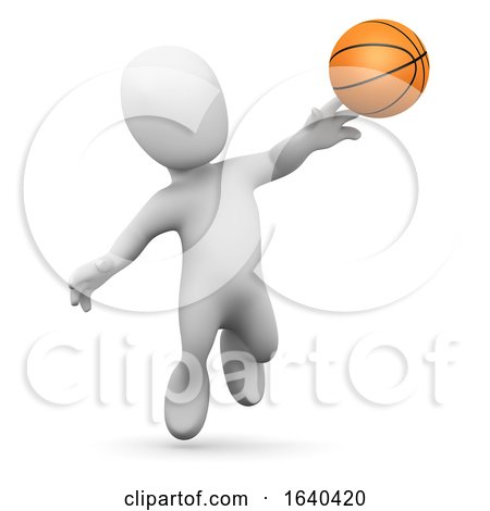 3d Little Man Plays Basketball by Steve Young