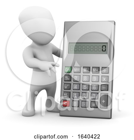 3d Little Man with a Calculator by Steve Young
