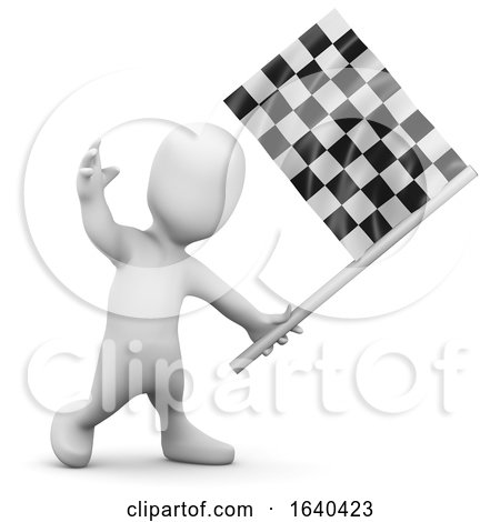 3d Little Person Checkered Flag by Steve Young