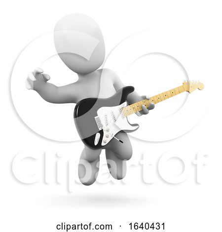 Cartoon 3d Man Jumping in the Air While Playing Electric Guitar by Steve Young
