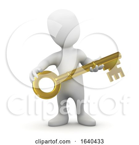 3d Little Man Holding a Gold Key by Steve Young