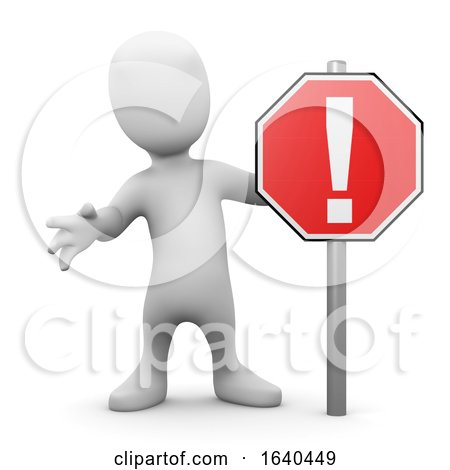 Cartoon 3d Man Standing Next to a Road Sign by Steve Young