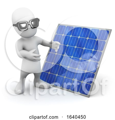 Cartoon 3d Man Standing Next to a Solar Panel by Steve Young