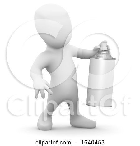 3d Little Man with a Spraycan of Paint by Steve Young