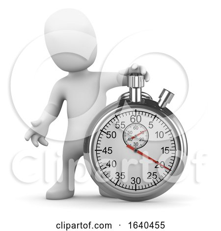 Cartoon 3d Man with Stopwatch by Steve Young