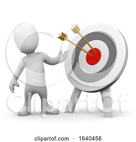 3d Little Man with Arrows in Bullseye by Steve Young