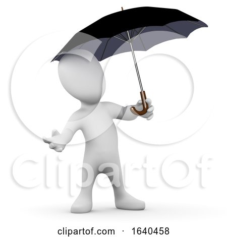 3d Little Person Under Umbrella by Steve Young