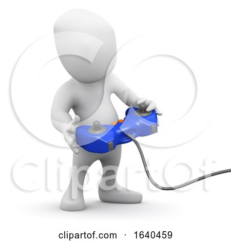Cartoon 3d Man Playing a Video Game by Steve Young