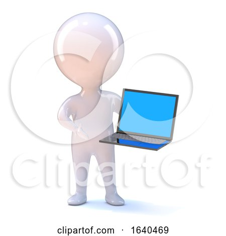 3d Little Man with a Laptop Pc by Steve Young
