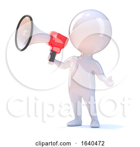 3d Little Person with Bullhorn by Steve Young