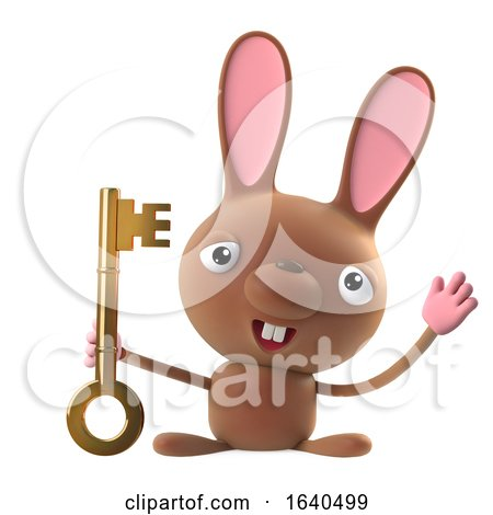 3d Funny Cartoon Easter Bunny Rabbit Character Has a Gold Key by Steve Young