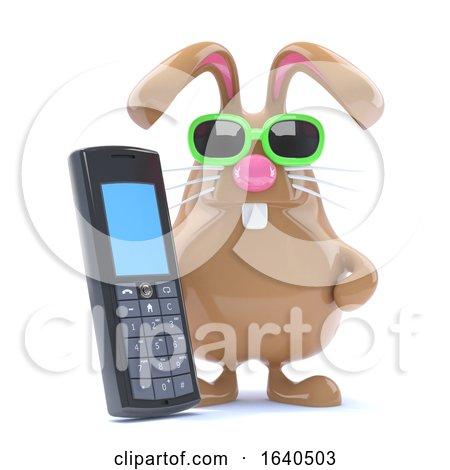3d Mobile Phone Bunny Posters, Art Prints