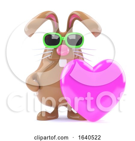 3d Bunny Loves Pink by Steve Young