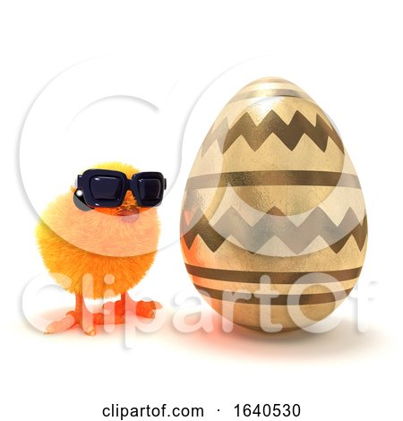 Funny Cartoon 3d Easter Chick Next to a Giant Gold Easter Egg Posters, Art Prints