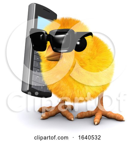 3d Chick Chats on a Cellphone Posters, Art Prints