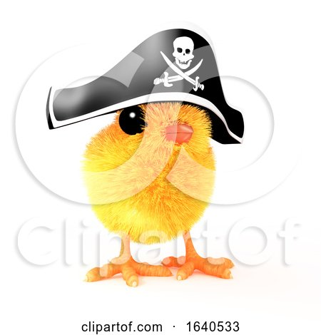 3d Easter Chick in Pirate Hat Posters, Art Prints