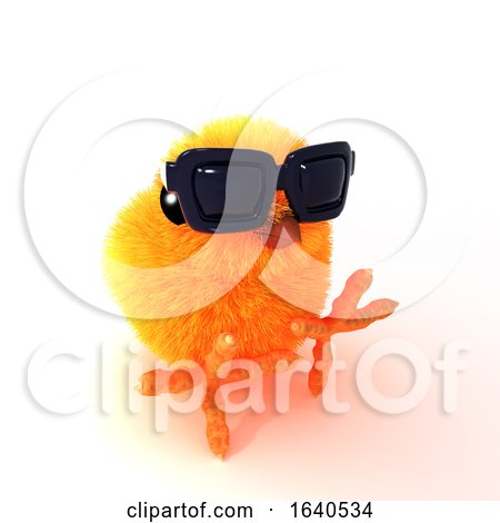 3d Chick in Sunglasses Sits on the Floor Posters, Art Prints
