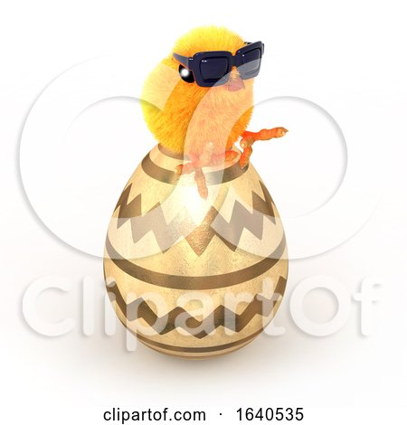 Funny Cartoon 3d Easter Chick Sitting on a Giant Gold Easter Egg Posters, Art Prints