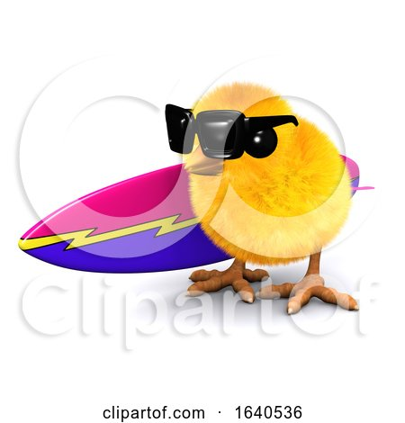 Funny Cartoon 3d Easter Chick Carrying a Surfboard Posters, Art Prints