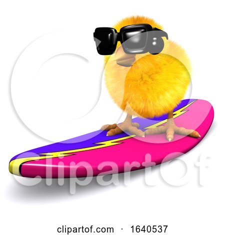 3d Easter Chick Surfing Posters, Art Prints
